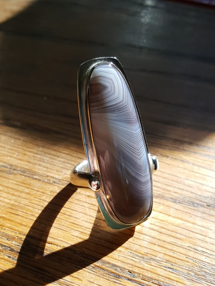 A front view of the botswana agate ring
