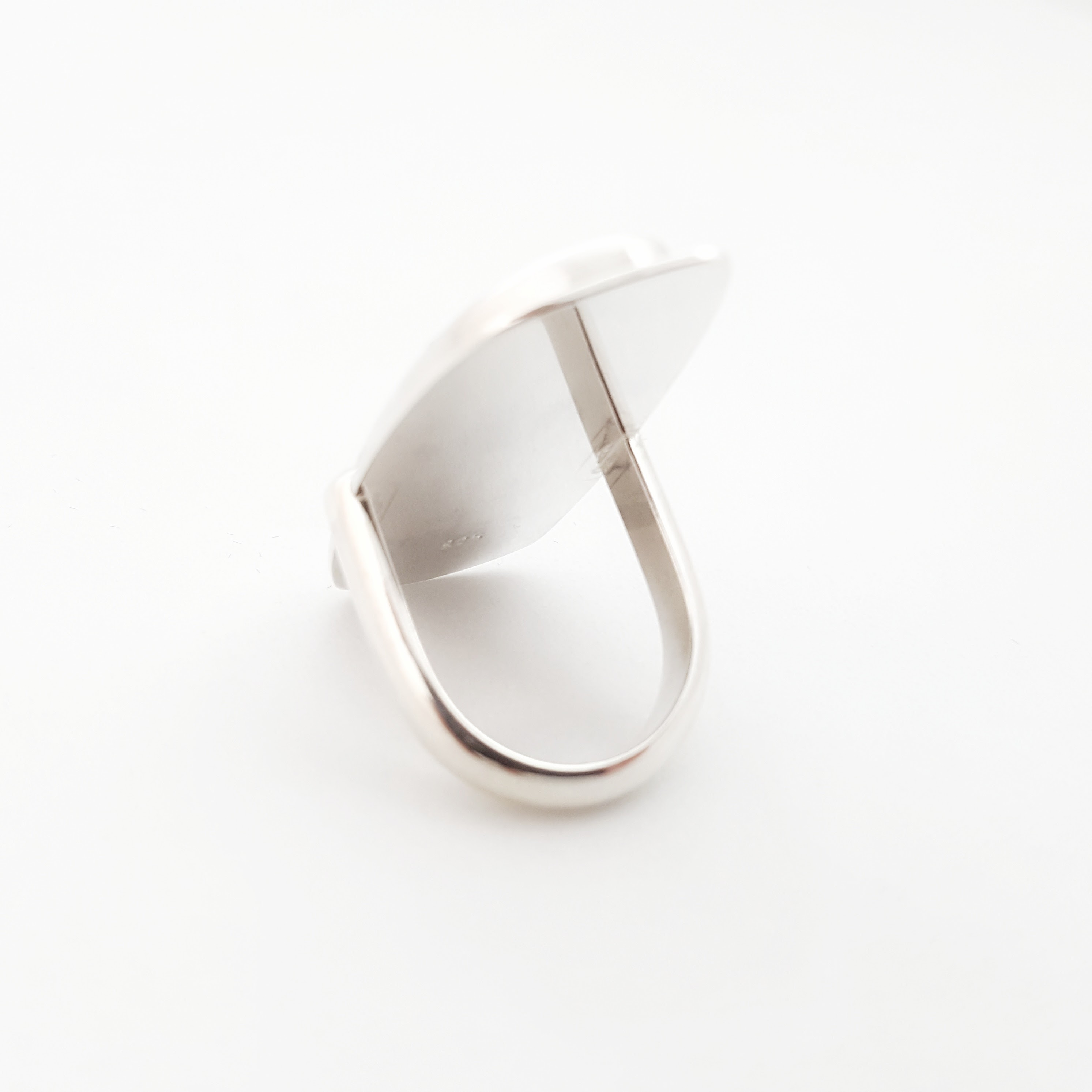 A view of the back of this Botswana agate ring set in silver