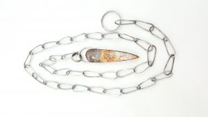 Silver Crazy Lace Agate Lariat