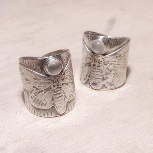 Moonstone Moth Rings
