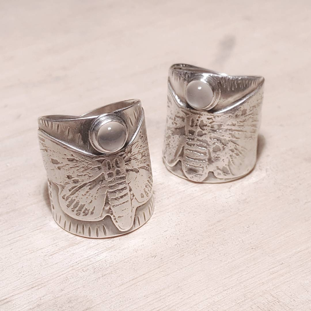 Moonstone moth rings